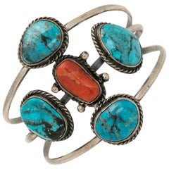 Vintage Native American Navajo Sterling Silver Turquoise and Coral Bracelet