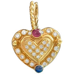 Vintage Natural 1.25 Carat Diamond, Ruby and Sapphire Heart Pendant for Her