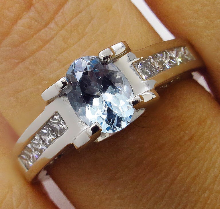 This truly Beautiful Ring crafted in Platinum (stamped) will make a beautiful UNIQUE Engagement, Wedding, Anniversary or Right hand Ring. It features a dazzling Gorgeous Natural Light Blue Oval shaped Aquamarine, estimated weight – 0.69. Clean and