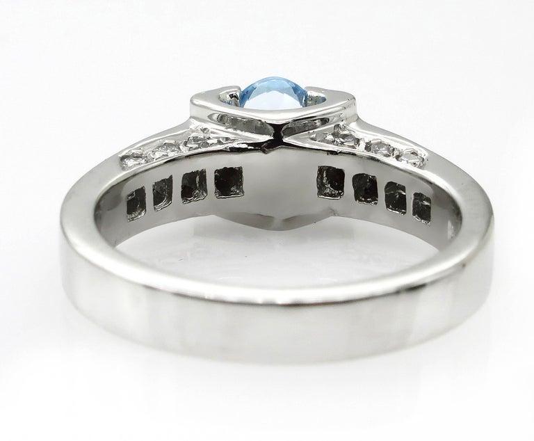 Vintage Natural 1.67ct Oval Aquamarine and Diamond Platinum Ring For Sale 2