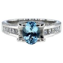 Vintage Natural 1.67ct Oval Aquamarine and Diamond Platinum Ring