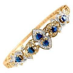 Vintage Natural 2.00 Carat Blue Sapphire Diamond Bracelet