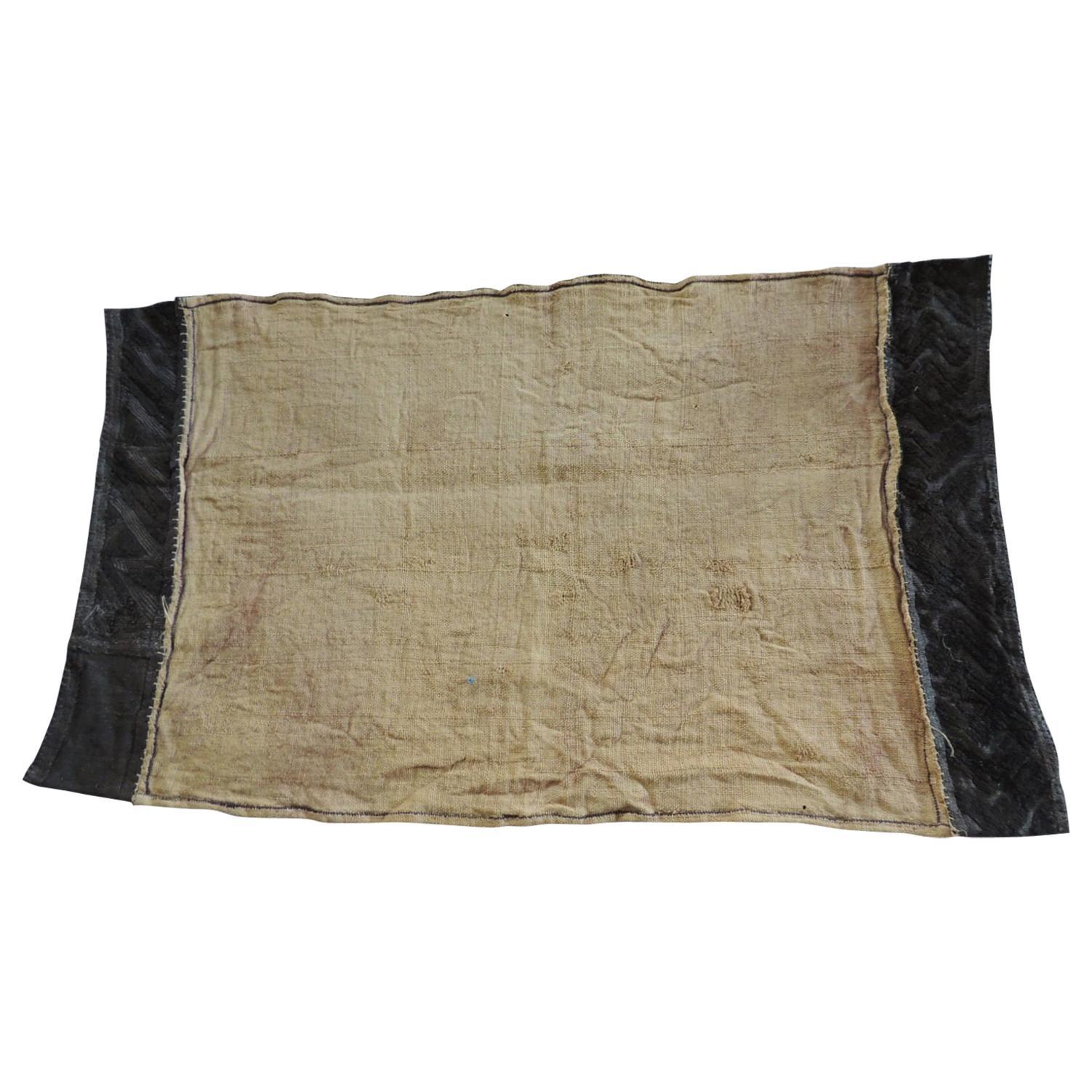 Vintage Natural and Black African Kuba Applique Textile