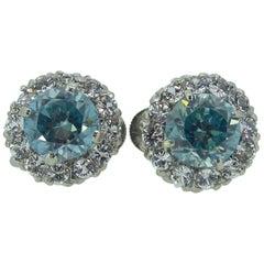 Vintage Natural Blue Zircon, White Sapphire Stud Earrings, White Gold