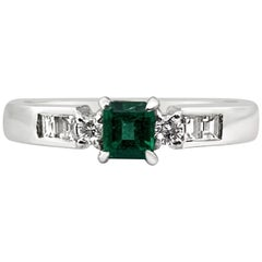 Vintage Natural Colombian Emerald and Diamond Ring, Platinum
