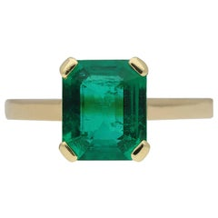 Vintage Natural Colombian Emerald Solitaire Ring, circa 1970