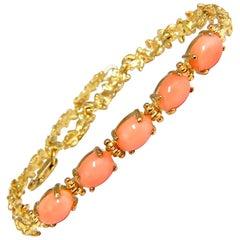 Vintage Natural Coral Link Bracelet 14 Karat