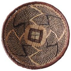 Vintage Natural Fiber Artisanal Small Round African Basket