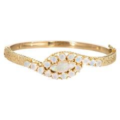 Vintage Natural Opal Bracelet 14 Karat Yellow Gold Bangle Estate Fine Jewelry