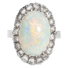Vintage Natural Opal Diamond Ring 14 Karat Gold Cocktail Oval Estate Jewelry