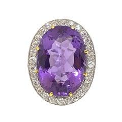Vintage Natural Oval Amethyst & Old Euro Diamond Halo Ring Platinum 12 Carat
