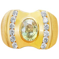 2.55 Carat Oval-Cut Yellow Sapphire, Diamond and 14K Yellow Gold Men's Ring