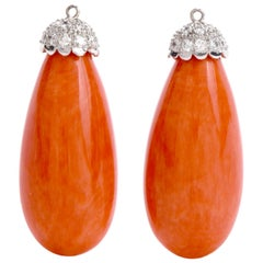 Vintage Natural Red Coral Diamond Long Drop Earring Jackets