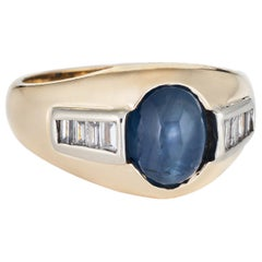 Vintage Natural Sapphire Cabochon Diamond Ring 14 Karat Yellow Gold Mens Jewelry