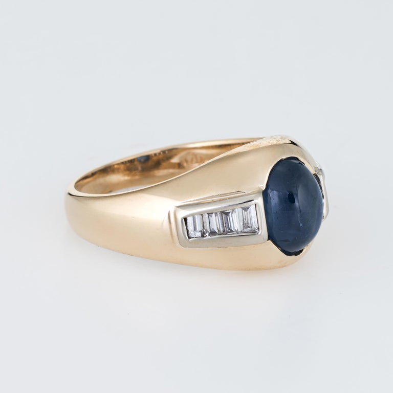 Modern Vintage Natural Sapphire Cabochon Diamond Ring 14 Karat Yellow Gold Mens Jewelry For Sale