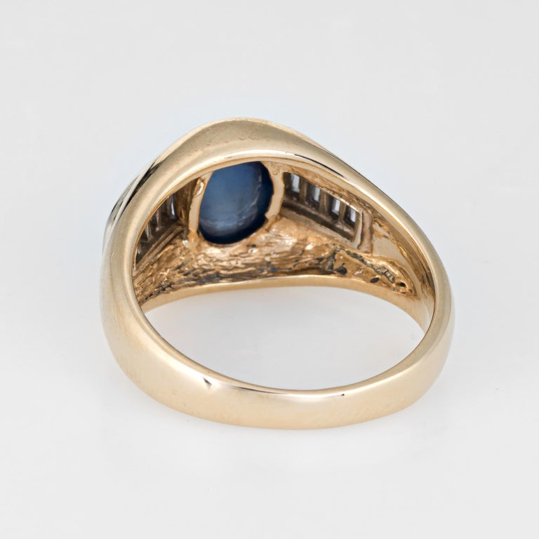 Vintage Natural Sapphire Cabochon Diamond Ring 14 Karat Yellow Gold Mens Jewelry In Excellent Condition For Sale In Torrance, CA