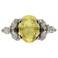 Vintage Natural Yellow Ceylon Sapphire and Diamond Ring, circa 1960