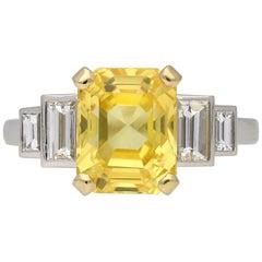 Vintage Natural Yellow Sapphire and Diamond Ring, circa 1950