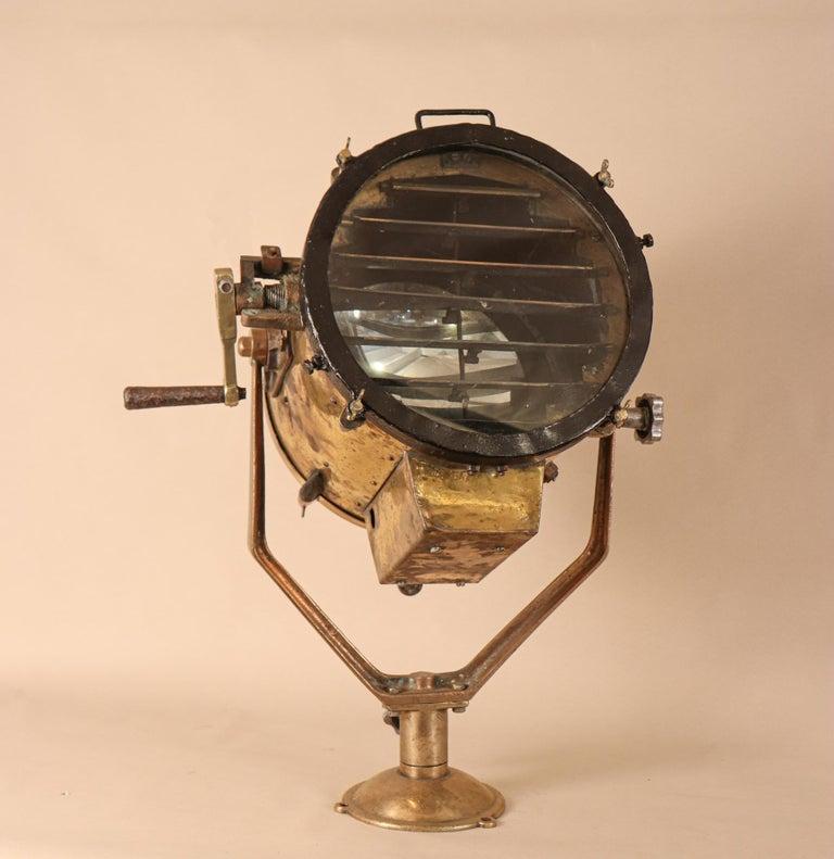 Vintage Nautical Brass Signal Lantern For Sale 3