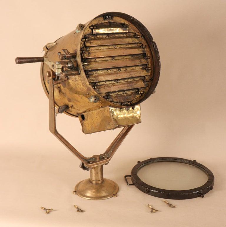 Vintage Nautical Brass Signal Lantern For Sale 4