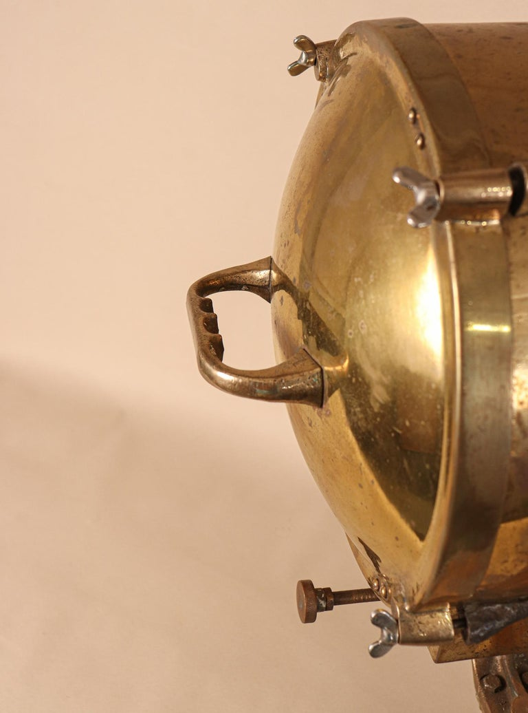 Vintage Nautical Brass Signal Lantern For Sale 6