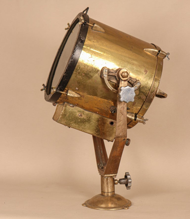 Industrial Vintage Nautical Brass Signal Lantern For Sale