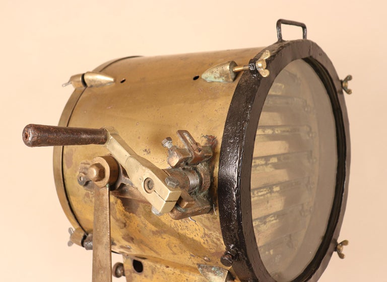 Polished Vintage Nautical Brass Signal Lantern For Sale