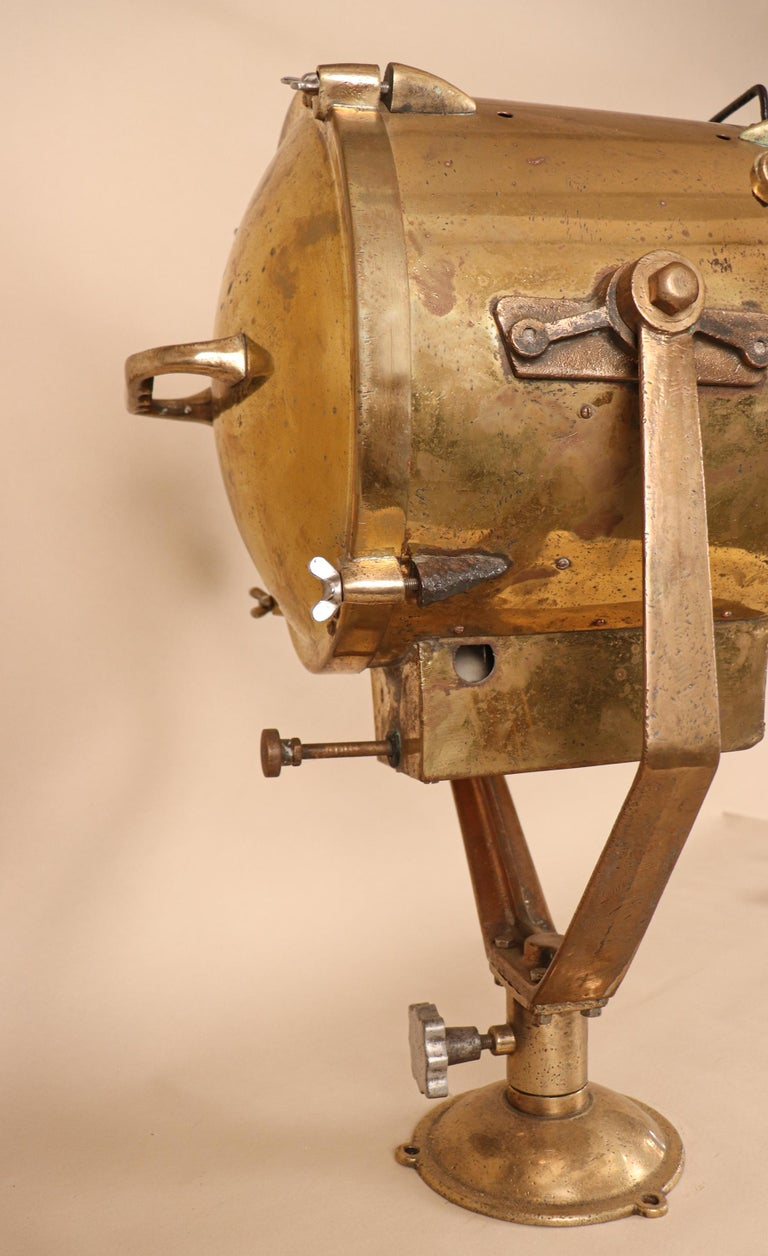 Vintage Nautical Brass Signal Lantern In Good Condition For Sale In Heath, MA