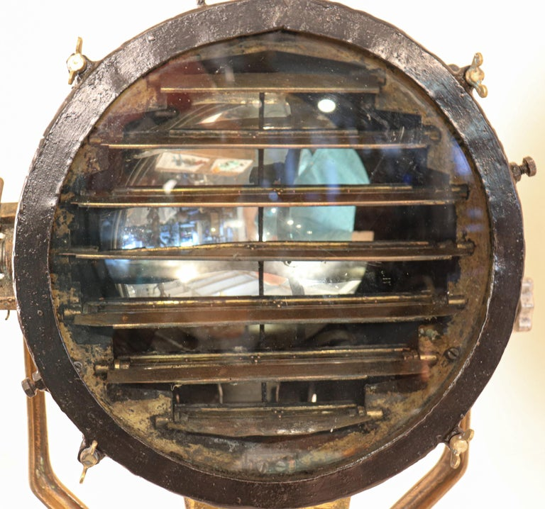 Vintage Nautical Brass Signal Lantern For Sale 2