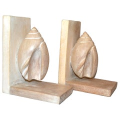Vintage Nautical Cerused Oak Seashell Decor Bookends