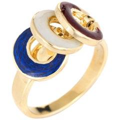 Vintage Nautical Charm Ring 18 Karat Yellow Gold Red White Blue Enamel Tango