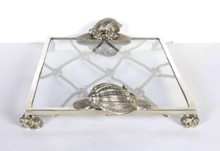 Hollywood Regency Vintage Nautical Theme Serving Tray in Hand Forged Pewter and Glass For Sale