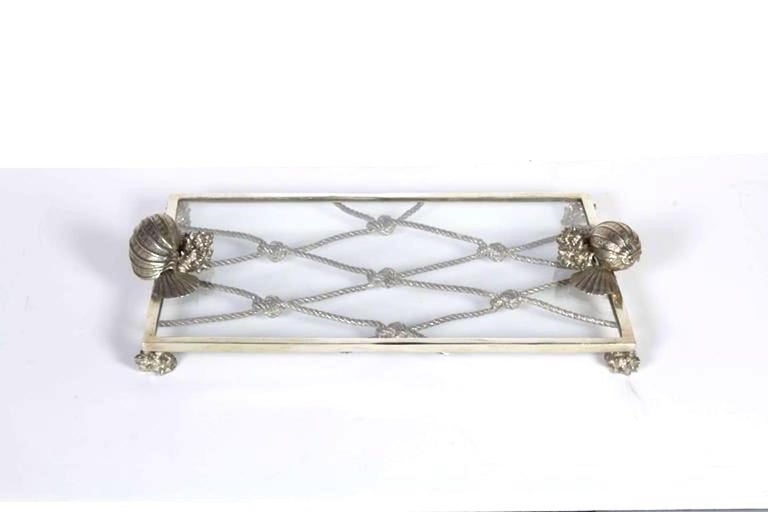 American Vintage Nautical Theme Serving Tray in Hand Forged Pewter and Glass For Sale