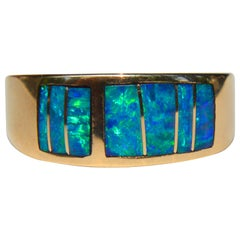 Vintage Navajo 14 Karat Gold Black Opal Inlay Band Ring