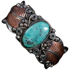 Navajo Albert Cleveland Sterling Copper & Turquoise Cuff Bracelet, 20th Century