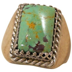 Vintage Navajo American Indian Sterling Green Turquoise Sterling Ring, Size 11.5