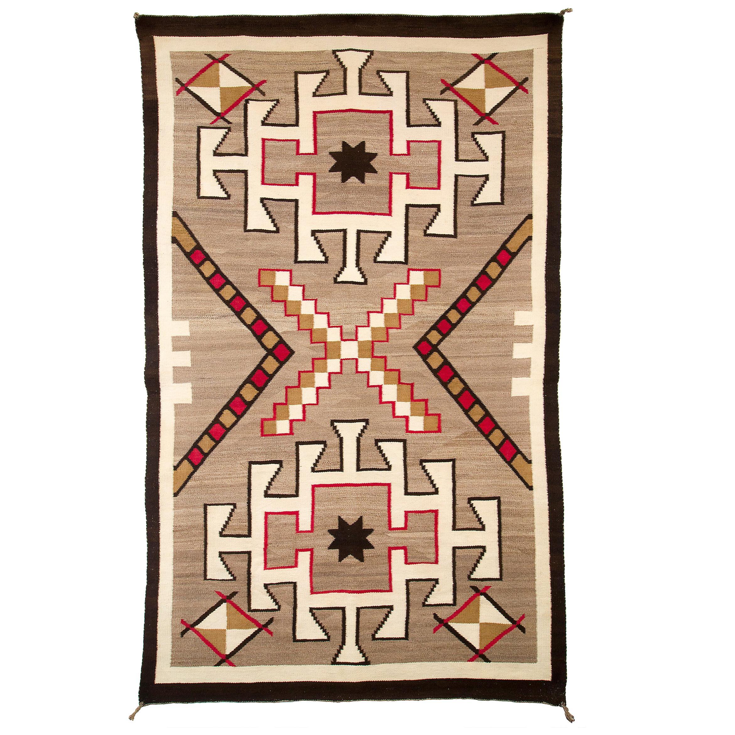 Vintage Navajo Area Rug, Trading Post Era, circa 1930s, Brown, White, Red, Black