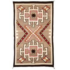 Vintage Navajo Area Rug, Trading Post Era, circa 1930s, Brown, White, Red, Black