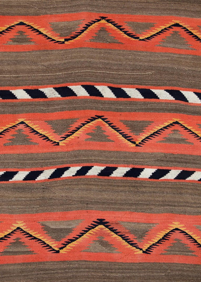 Hand-Woven Vintage Navajo Banded Wool Serape Style Blanket, 19th Century, circa 1880-1900 For Sale