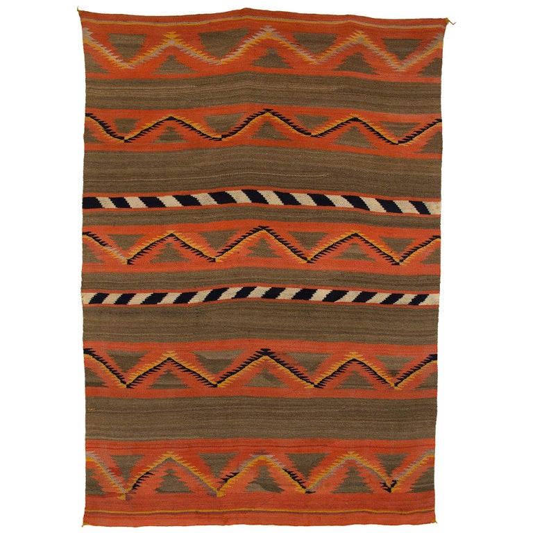 Vintage Navajo Banded Wool Serape Style Blanket, 19th Century, circa 1880-1900 For Sale