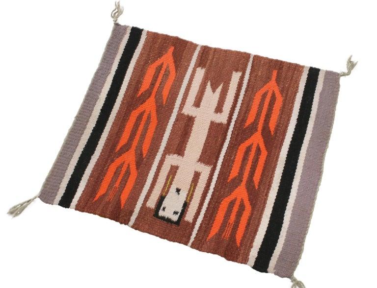 American Vintage Navajo Beige Brown Geometric Wool Rug For Sale