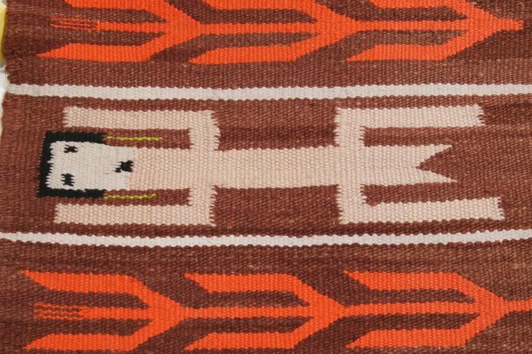 Hand-Knotted Vintage Navajo Beige Brown Geometric Wool Rug For Sale
