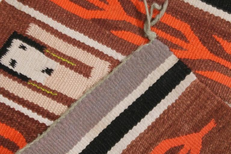 Mid-20th Century Vintage Navajo Beige Brown Geometric Wool Rug For Sale
