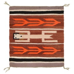 Vintage Navajo Beige Brown Geometric Wool Rug
