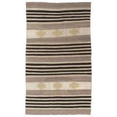 Vintage Navajo Carpet, Folk Rug, Handmade Wool, Beige, Gray, Brown, Neutral