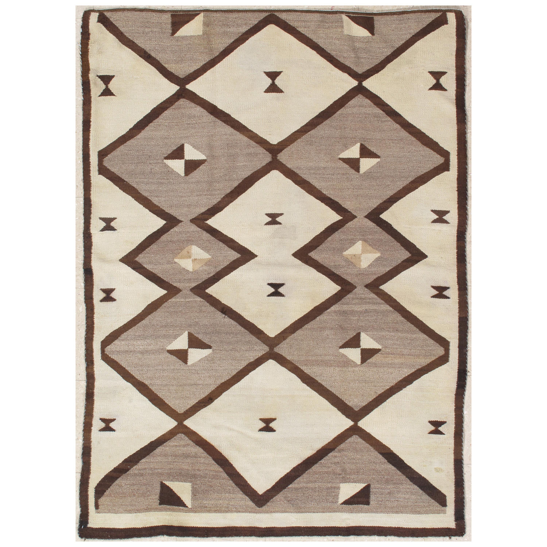 Vintage Navajo Carpet, Folk Rug, Handmade Wool, Beige, Gray, Neutral