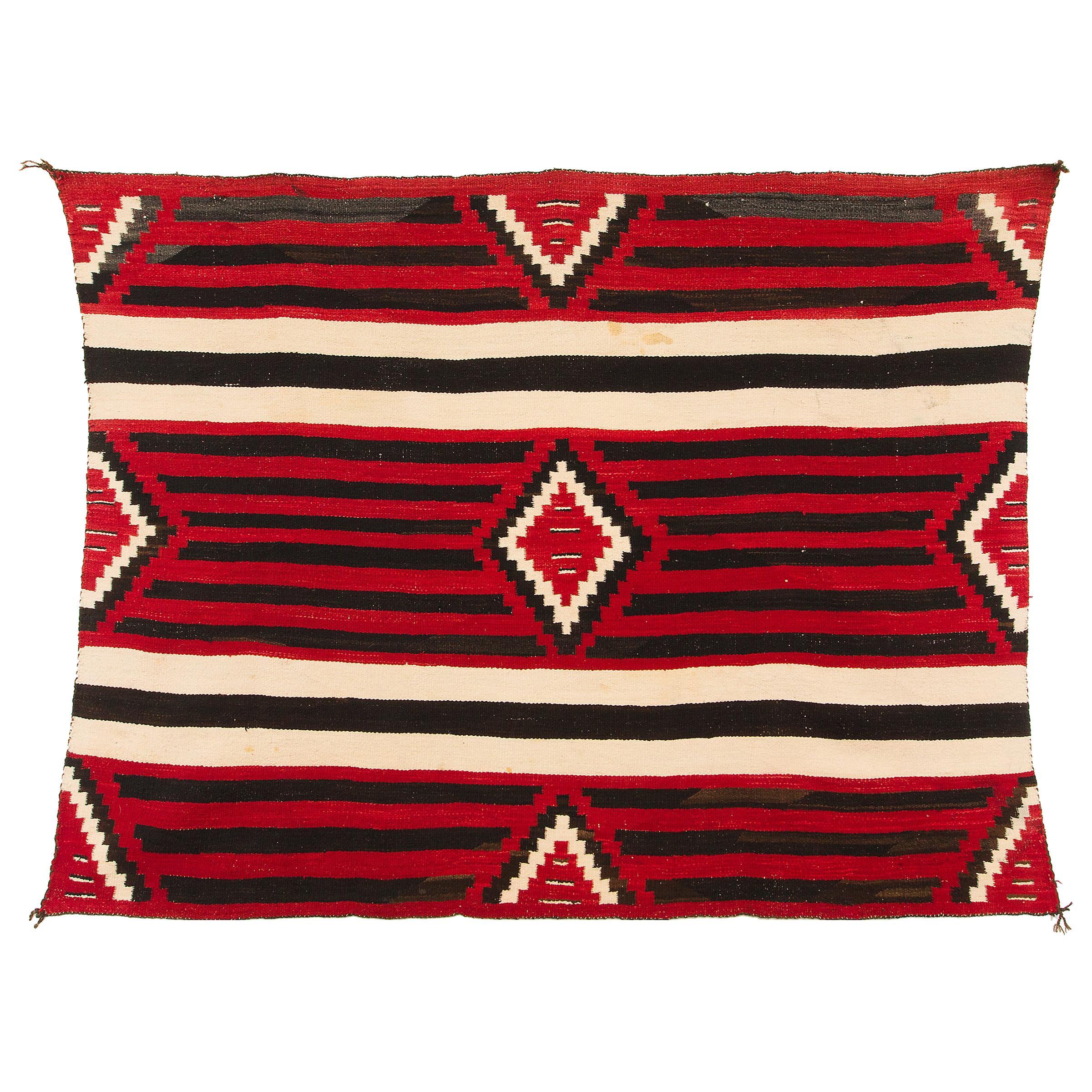 Vintage Navajo Chief's Blanket, 3rd Phase Pattern, circa 1900, Red, White, Black