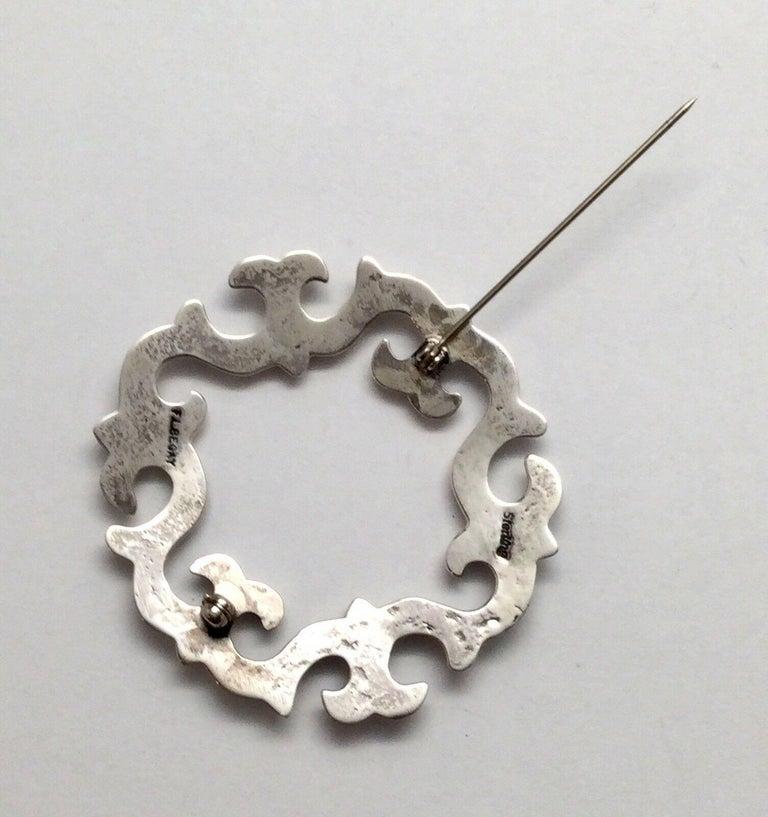 Vintage Navajo F.L. Begay Sterling Silver Sandcast Pin For Sale 2