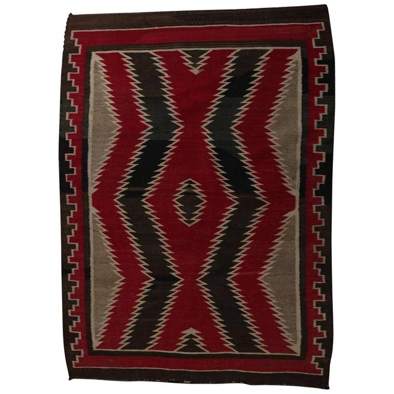 Vintage Navajo Germantown Wool Eyedazzler Rug Circa 1930