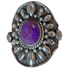 Vintage Navajo Indian Darryl Beconti Sugalite Amethyst & Sterling Ring, Size 9.5